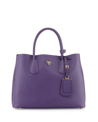 Saffiano Cuir Small Double Bag, Violet (Viola)