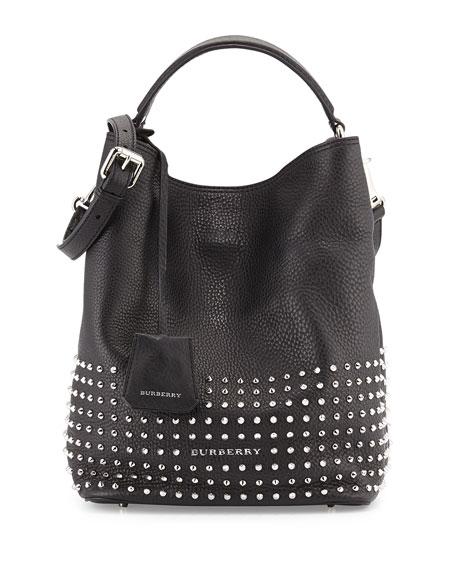 6625c629527 Burberry Studded Leather Hobo Bag, Black
