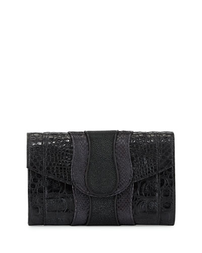 Herzog Mixed-Skin Clutch Bag, Black