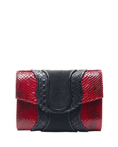 Jolie Snake & Stingray Clutch Bag, Red/Black