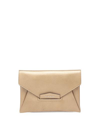 Antigona Evening Envelope Medium Leather Clutch, Golden