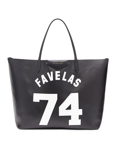 Antigona Favelas 74 Large Leather Shopping Tote, Black/White