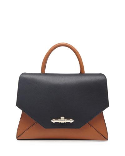 Obsedia Top-Handle Small Leather Satchel Bag, Black/Brown