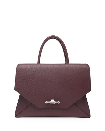 Obsedia Top Handle Medium Leather Satchel Bag, Oxblood