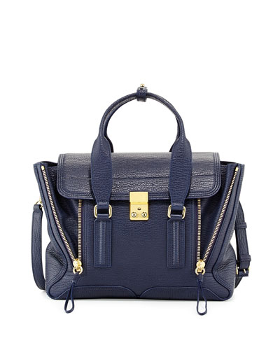 Pashli Medium Zip Satchel Bag, Ink