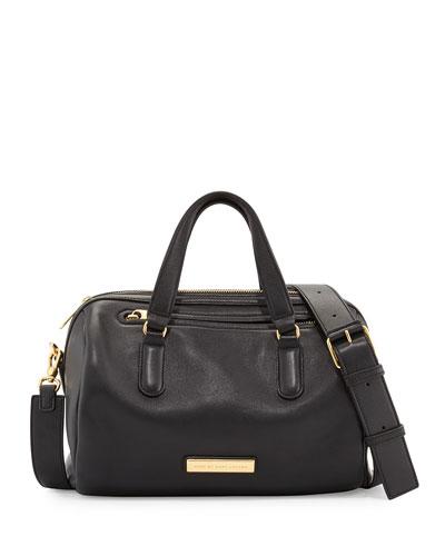 Luna Leather Satchel Bag, Black