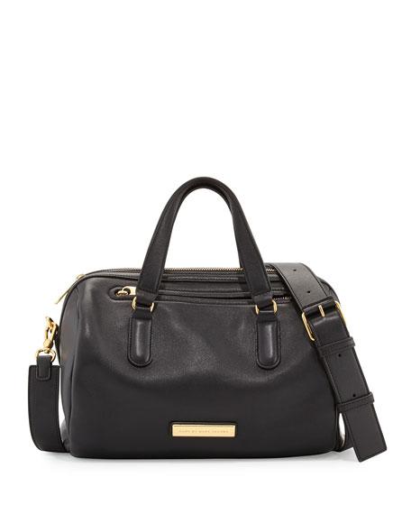 Luna Leather Satchel Bag Black
