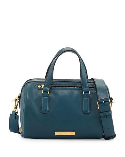 Luna Leather Satchel Bag, Hopper Green