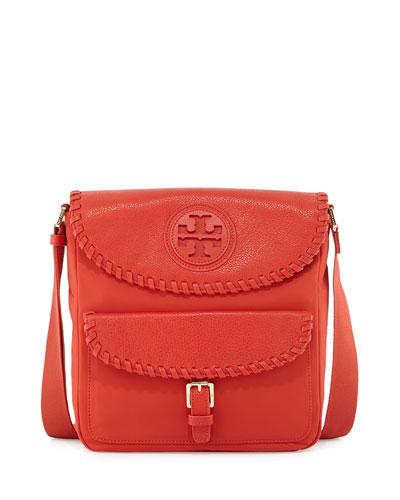 Marion Nylon Whipstitch Messenger Bag, Red