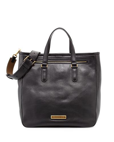 Luna Leather Tote Bag, Black