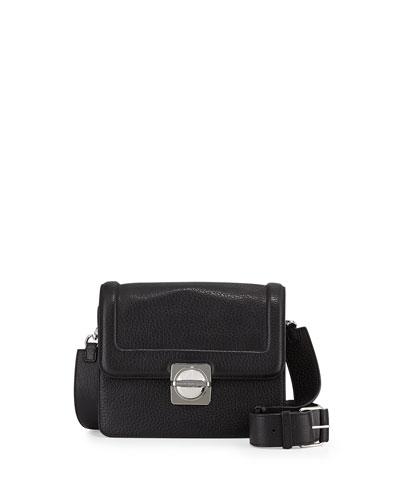 Top Schooly Leather Messenger Bag, Black