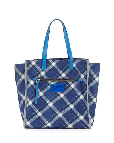 Marc It Plaid Nylon Tote Bag, Skipper Blue