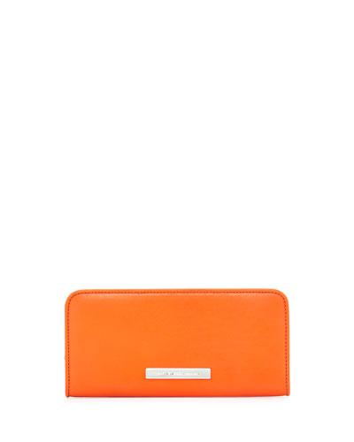 Luna Slim Zip-Around Wallet, Orange Glow