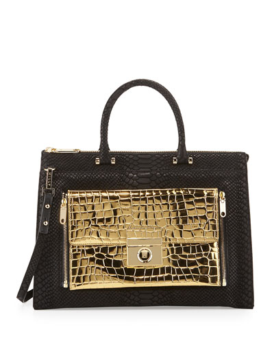 Sienna Python & Croc-Embossed Two-In-One Tote Bag, Black/Gold