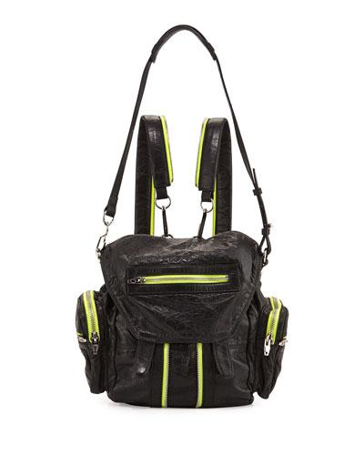 Marti Mini Leather Backpack, Black