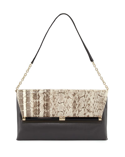 Snakeskin & Leather Envelope Clutch Bag, Natural Roccia/ Flint
