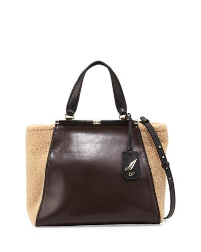 440 Runaway Leather Tote Bag, Mahogany/Natural