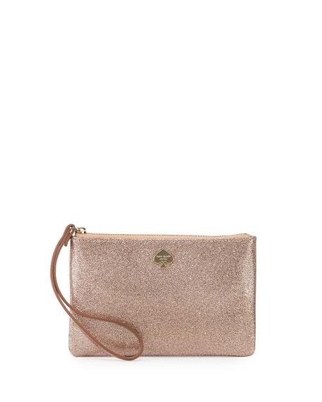 Glitter Bug Wristlet Clutch Bag Rose Gold