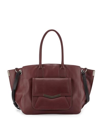 Jo Leather Tote Bag, Burgundy