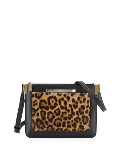 Ishi Small Calf Hair Shoulder Bag, Leopard
