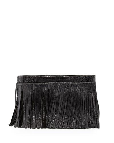 Crocodile Fringe Crossbody Clutch Bag, Black