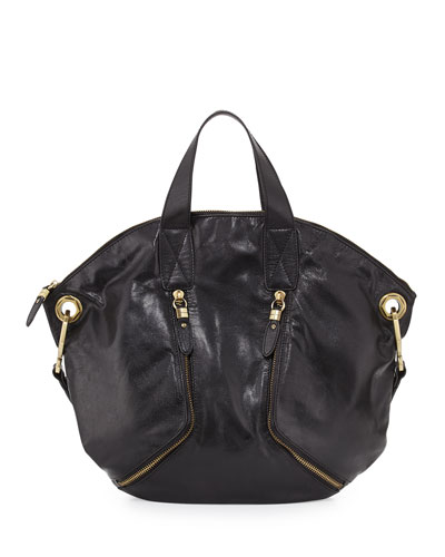 Sienna Convertible Glazed Leather Tote Bag, Black