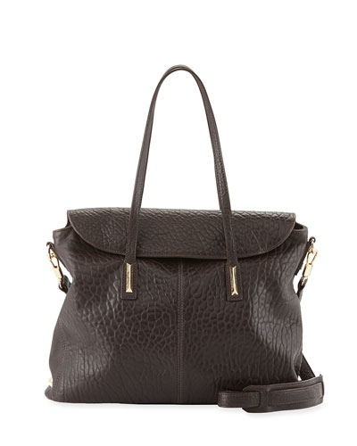 Pyramid Leather Satchel Bag, Raisin