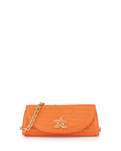 Paradise Woven Clutch Bag, Tangerine