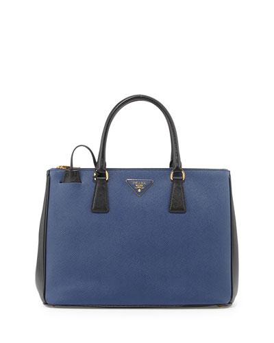 Saffiano Lux Bicolor Double-Zip Tote Bag, Blue/Black (Bluette+Nero)
