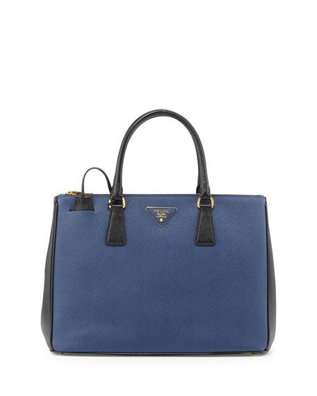 f61f1e79d869 Prada Saffiano Lux Bicolor Double-Zip Tote Bag