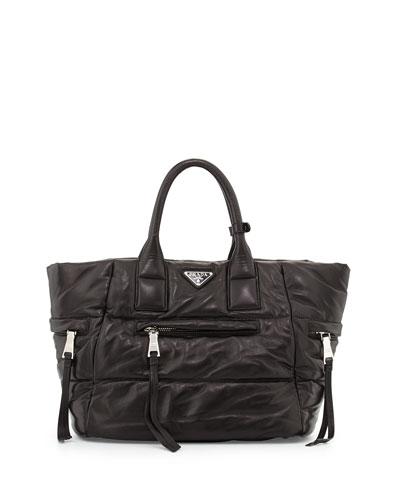 Nappa Bomber Tote Bag, Black (Nero)