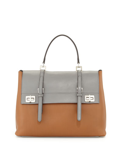 Lux Calf Large Flap Satchel Bag, Nude/Gray (Cannella+Marmo)