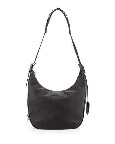 Bradbury Leather Zip Hobo Bag, Black