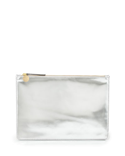 Mirror Metallic Flat Clutch Bag, Silver