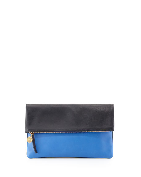 Supreme Colorblock Fold Over Clutch Bag Navy Cobalt