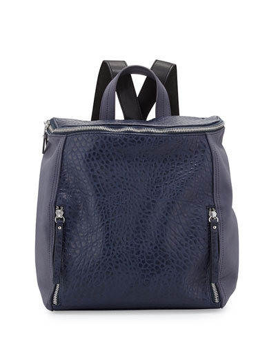 So Fresh Double-Zip Faux-Leather Backpack, Prussian Blue