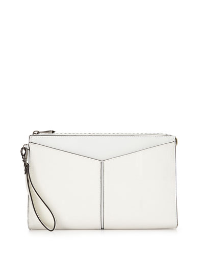 Angled Snake-Print Faux-Leather Clutch Bag, White