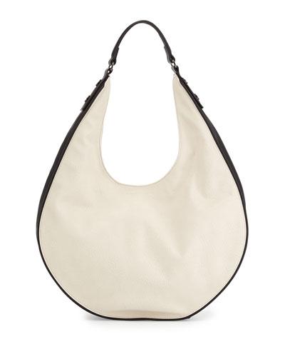 Elite Contrast Trimmed Faux-Leather Hobo Bag, Eggshell/Black