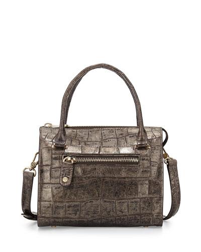 Metallic Croc-Print Satchel Bag, Pewter