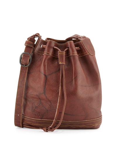 Campus Vintage Leather Drawstring Bag, Walnut