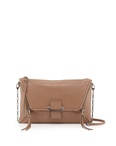 Jonnie Flap-Front Clutch Bag, Stone
