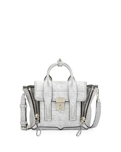Pashli Mini Leather Satchel Bag, Silver