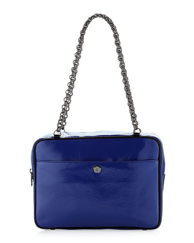 Carly Patent Shoulder Bag, Royal/Black