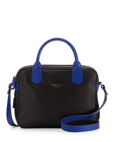 Longchamp 2.0 Leather Crossbody Bag, Black/Blue