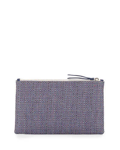 Medium Zip-Top Raffia Clutch, Purple