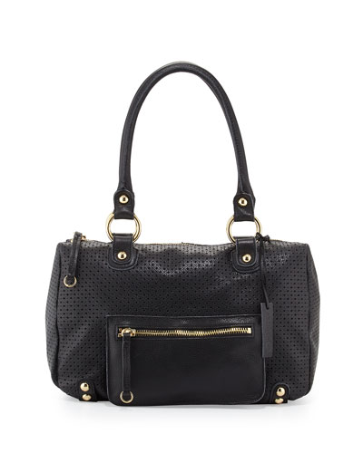 Dylan Perforated Leather Duffle Tote, Black