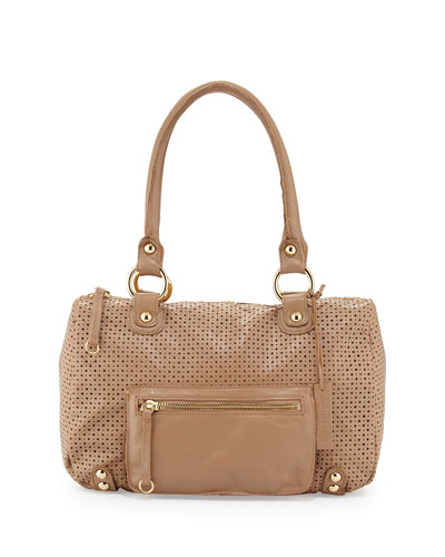 Dylan Perforated Leather Duffle Tote, Beige Nougat