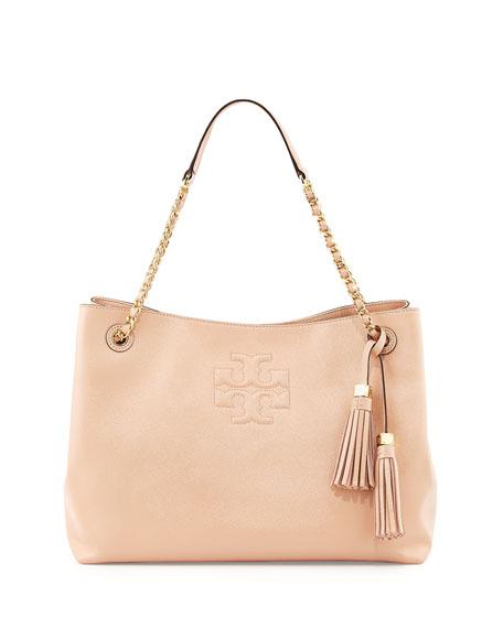 Thea Patent Chain Strap Shoulder Bag Light Oak