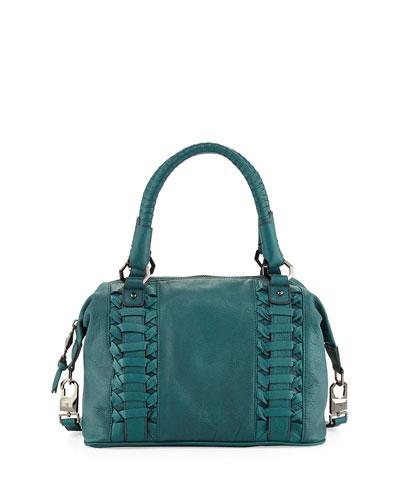 Pebble Leather Woven Satchel, Emerald