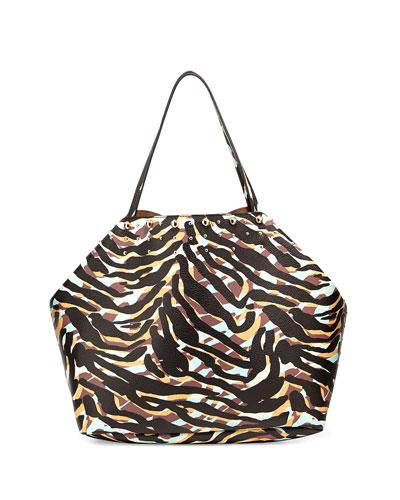 Simone Zebra-Print Faux-Leather Tote, Zebra